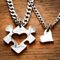 Heart Puzzle Piece with Initials Couples Necklaces, His and Her anniversary gift by Namecoins