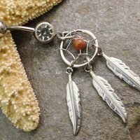 Sunstone Dream Catcher Belly Button Ring Jewelry Feather Navel Jewelry