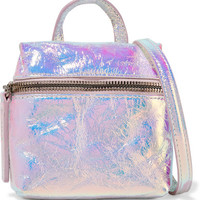 Kara - Satchel micro holographic crinkled-leather shoulder bag
