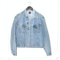 LEE vintage jean jacket 1970s vintage denim jacket 70s RETRO washed out faded denim jacket medium