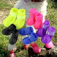 Pesp® Puppy Dogs Candy Colors Anti-slip Waterproof Rubber Rain Shoes Boots Paws Cover (Rose Red, Small)