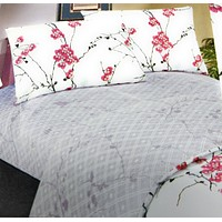 DaDa Bedding Floral Cherry Blossoms Red Purple Fitted Sheet & Pillow Cases Set (FTS8318)