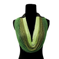 Green Layered Seed Bead Necklace