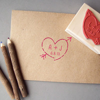 Heart with Initials Stamp - Valentines Day, Save the Dates, Newlyweds, Weddings, Anniversary - Customize with Initials and Date