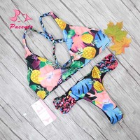 Pacento 2017 New Flower Bikini Sets Colorful Swimwear Female String Biquini Thong Swimsuit Sexy Bathing Suit for Women XL Plavky