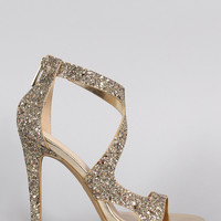Anne Michelle Strappy Glitter Open Toe Stiletto Heel