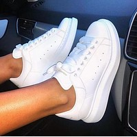 Alexander McQueen Fashion Women Men Casual Sport Running Sneaker Shoes(White Leather Tail)