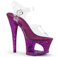"Moon 708LG Purple Hologram Glitter Cutout Clear Platform 7"" High Heel Shoe"