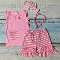 Pink Stripe Capri 2PC W/Headband and Necklace