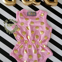 Pink and Gold Baby Onesuits - Cute Pink and Gold Polka Dot Baby Girl Toddler Girl Little Girl Tank Bodysuit Rompers Size 0 to 3T
