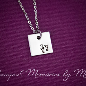 Teeny Footprints - Hand Stamped Stainless Steel Necklace - Small Square - Baby Feet Jewelry - Pregnancy, Miscarriage, New Mommy, Expecting