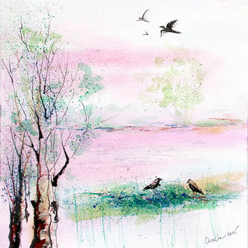 Landscape painting, Original watercolor painting, Nature painting, landscape watercolor painting, birds painting, animals painting, decor