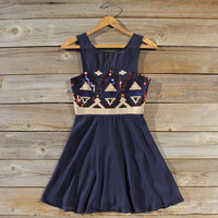 Stone Spell Beaded Dress in Navy