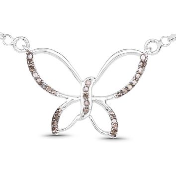 A Natural Earth Mined Champagne Diamond Butterfly Pendant Necklace