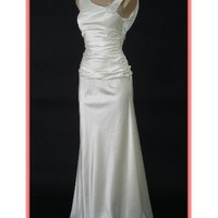 Ivory Satin Vintage Inspired Draped Back Gown-Informal Wedding Dresses
