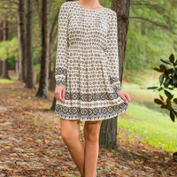 Pattern Party Dress, Cream