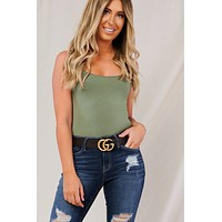 Sleek And Slay Bodysuit (Olive)