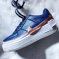 Wearwinds Nike Air Force 1 AF1 Flat Shoes Sports Sneakers PU Contrast Blue gold