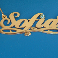 Sofia Style Gold Personalized Name Necklace neckliss neckless ORDER ANY NAME 14k gold plated pendant Free Shipping Madison Ashley Zoe