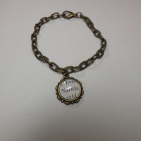 """The Chronicles of Narnia: The Lion, the Witch and the Wardrobe """"Narnia"""" Charm Bracelet made using an Actual Book Page"""