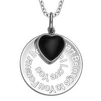 My Heart Belongs to You Forever Inspirational Pendant Simulated Onyx Heart Charm Amulet 22 Inch Necklace