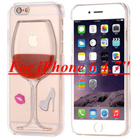For iphone 6 6S plus Capa Funny Ultra Thin Crystal Clear Cover For Apple iphone 6 6S 4.7 Wine Glass Liquid Hourglass Case Shell