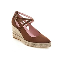 Cross-buckled Women Shoes33-44 Shallow Pointed Toe High Heeled Wedges