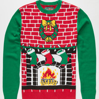 Ugly Christmas Sweater Home Sweet Home Mens Light Up Sweater Red  In Sizes