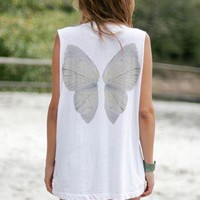 White Sleeveless Oversized Top with Wing Print Back