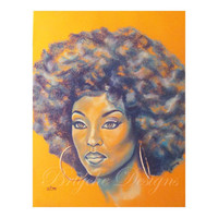 """8"""" x 10"""" Art Print Orange and Blue African American Woman with Afro """"Rebekah"""" Chalk Pastel Drawing by Sabrina Tillman McGowens"""