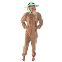Star Wars Adult Unisex Baby Yoda The Child Costume One-Piece Union Suit Pajama Onesuit For Men And Women