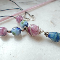 Lampwork Necklace, Handmade Jewelry, Contemporary Caged Bead Necklace, Handmade Lampwork Jewelry Gift for Her