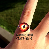 RED  DRAGON eye glass  Ring  adjustable ring, silver plated Limited