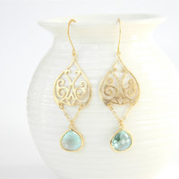 Gold Filigree Pendant Dangle Earrings with Seafoam Green Faceted Glass Drops