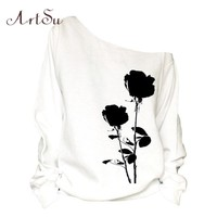 ArtSu Black Flower Printed One Shoulder Sweatshirt for Women Sexy Long Sleeve Casual Loose Autumn Winter Hoodies White ASHO20033