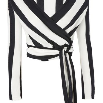 Stripe Knitted Wrap Top - Tops - Clothing