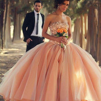 Custom Made Bing Rhinestone Ball Gown Prom Dresses Women Special Occasion Dress Strapless Off The Shoulder Blush Tull Gowns