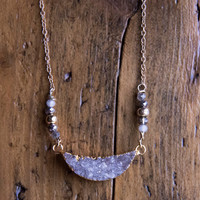 DRUZY CRESENT NECKLACE - Gemstone Jewelry Trendy Crystal Necklace Boho Chic Modern Gypsy Gypset Style Druzie Gifts for Teens Gifts for Her
