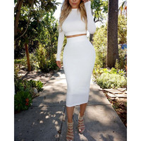 White Long Sleeves Bodycon Crop Top and Midi Skirt