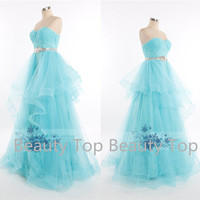 Tulle Wedding Dress Prom Ball Gown Blue Lace Dress Sweetheart Dress Lace Tulle Wedding Dress Lace Prom Dress