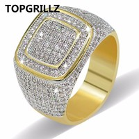 TOPGRILLZ Hip Hop Ring All Iced Out High Quality Micro Pave CZ Rings & Men Gold Ring For Love, Gift