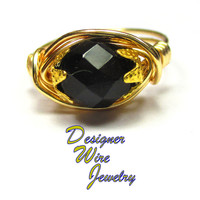 DWJ0546 Stunning Faceted Midnight Black Czech Art Glass Gold Wire Wrap Ring All