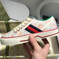 GUCCI  Pair of G embroidery jacquard canvas shoes