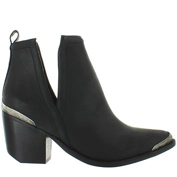 Jeffrey Campbell Cromwell - Black Distressed Leather Western Bootie