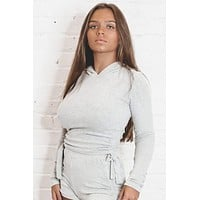 Thought Of You Gray Ruched Hoodie