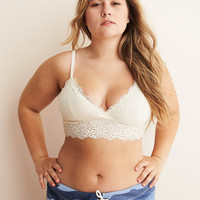 Aerie Ribbed Lace Plunge Bralette, Natural
