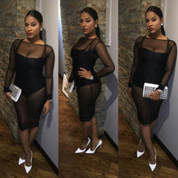 See-Through Mesh Sexy Black Slim Fit Package Hip Nightclub Clubbing Party Erotic One Piece Dress _ 11300