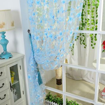 5 Colors Scarf Sheer Voile Door Window Curtains Drape Panel Valance Curtains for Living Room