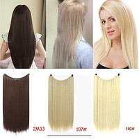 "Allaosify 24"" Invisible Wire No Clips In Hair Extensions Secret Fish Line Hairpieces Synthetic Straight Wavy Hair Extensions"