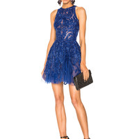 Zuhair Murad Embellished Sleeveless Mini Dress in Deep Ultramarine | FWRD